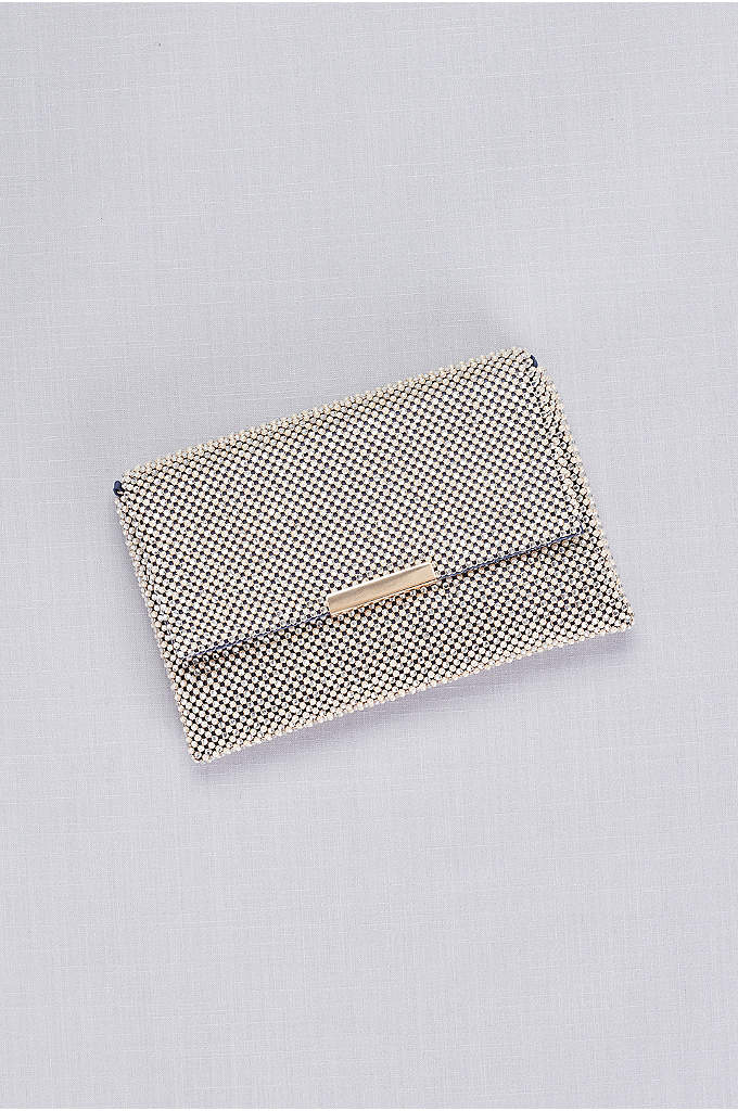 Metallic Crystal Mesh Clutch - Finished with shiny gold hardware, this metallic crystal