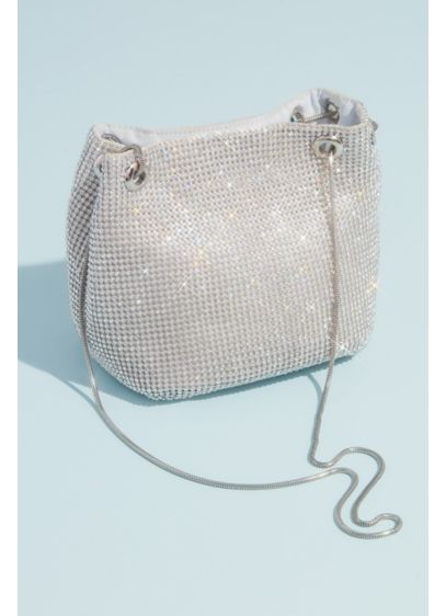 Crystal Embellished Mesh Chain Strap Bucket Bag - This chic bucket bag is crafted from liquid-like