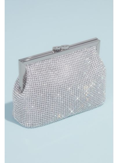 Linked Crystal Pouch Clutch with Metal Frame - Wedding Accessories