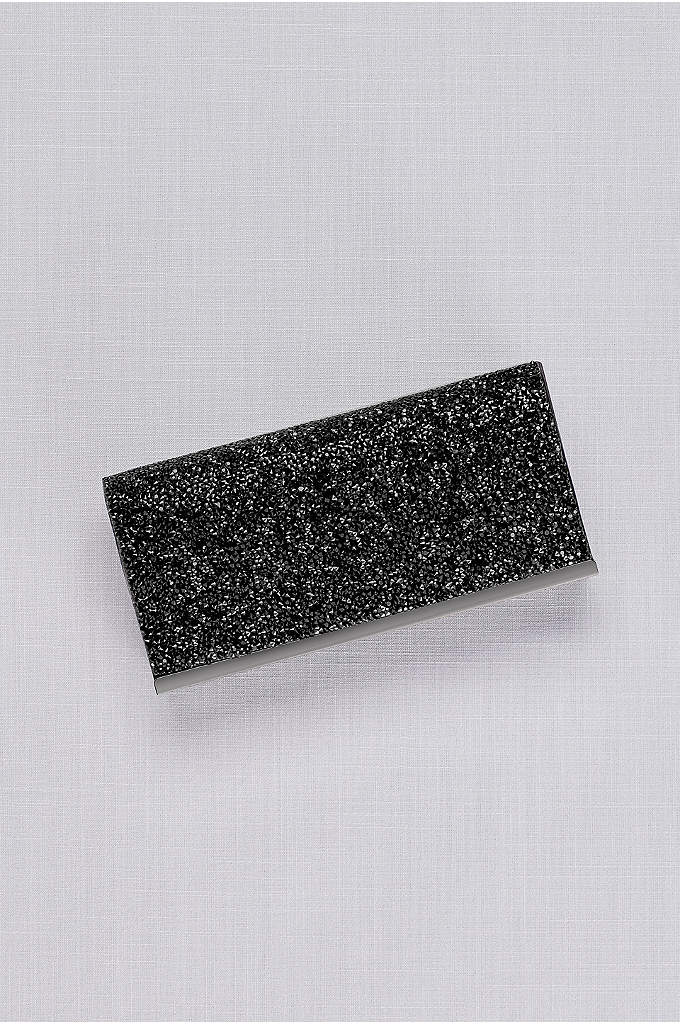 Rock Crystal Flap Clutch - Dusted with rock crystals, this vegan leather clutch
