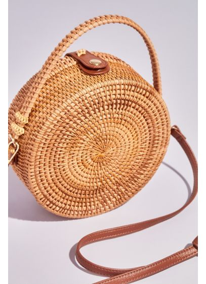 Round Rattan Crossbody Purse - Wedding Accessories