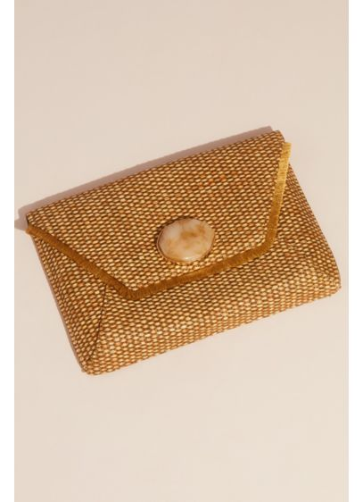 Fringed Raffia Envelope Clutch with Gem Clasp - Wedding Accessories