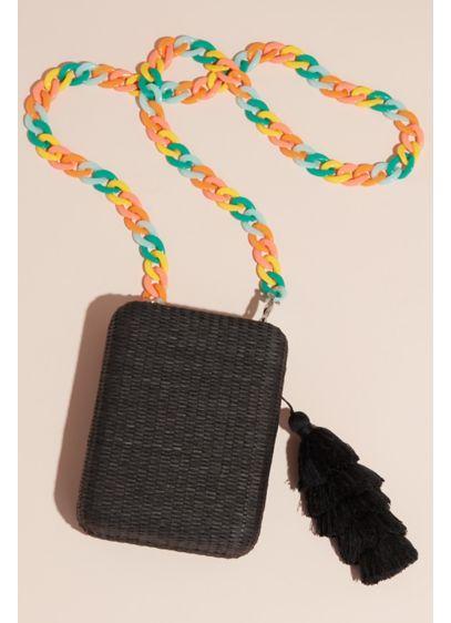 La Regale Black (Rattan Box Clutch with Tiered Tassel)