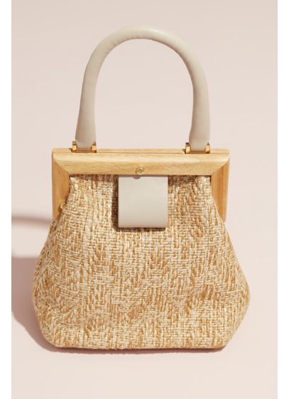 Mini Raffia Purse with Wood Frame - This petite raffia purse gets chic details from