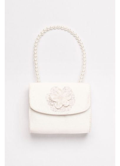 Pearl-Handled Satin Flower Girl Purse - Wedding Accessories