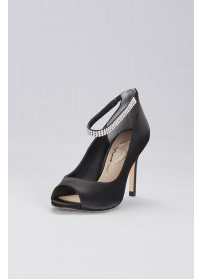 Touch of Nina Black (Metallic Mesh Peep-Toe Pumps with Jeweled Strap)