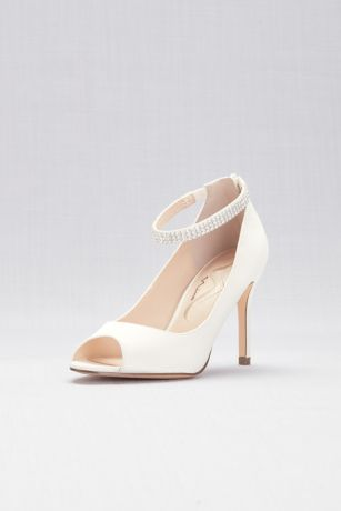 Touch of Nina Beige;Black;Blue;Grey;Ivory;Red Pumps (Metallic Mesh Peep-Toe Pumps with Jeweled Strap)