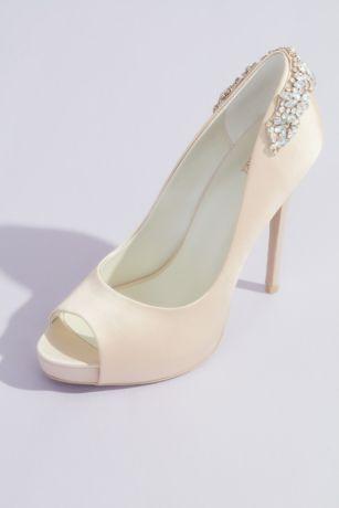 Jewel Badgley Mischka Ivory Pumps (Crystal-Wrapped Satin Peep-Toe Platform Heels)