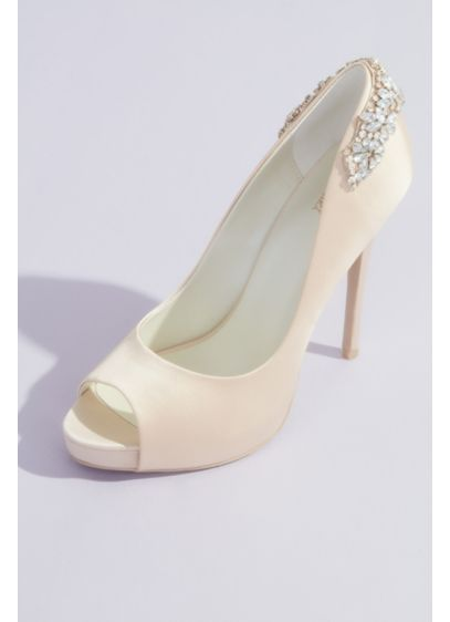 Crystal-Wrapped Satin Peep-Toe Platform Heels - Crafted of satin and adorned with crystal flowers,