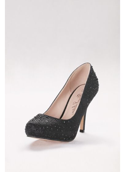 Crystal-Embellished Mid-Heel Platform Pumps - Finished with a chic almond toe and tonal