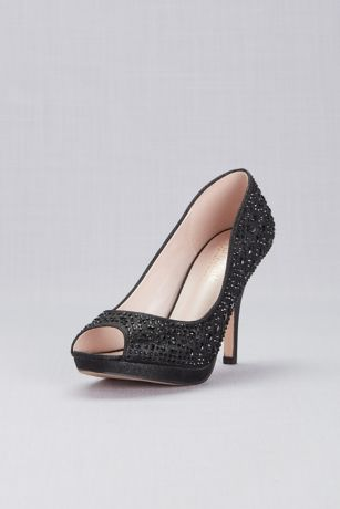 Blossom Black;Grey (Crystal Peep Toe Mid-Heel Platform Pumps)