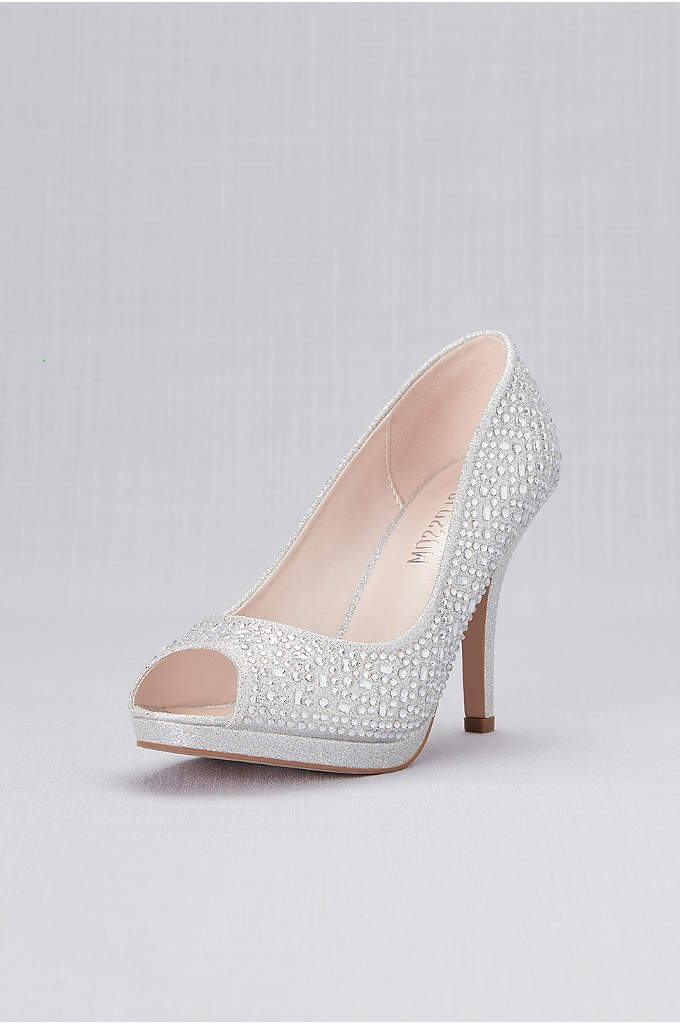 Crystal Peep Toe Mid-Heel Platform Pumps - The mid-heel and platform of these crystal-encrusted peep-toes
