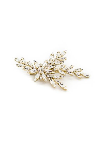 Navette Crystal Flower Clip - A beautiful arrangement of navette crystal leaves and