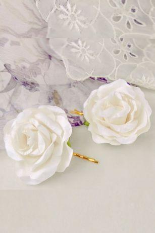 Handmade Paper Flower Hair Pin Set - Handmade paper roses give this sweet flower girl