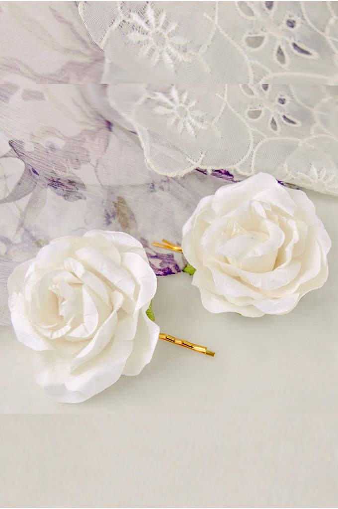 Handmade Paper Flower Hair Pin Set - Handmade paper roses give this sweet flower girl