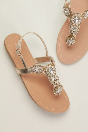 David's Bridal Ivory Flat Sandals (Crystal Sling Back Sandal)