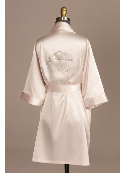 Rhinestone Tiara Mis Quince Satin Quinceanera Robe - A sweet satin robe for Miss Quince. Make