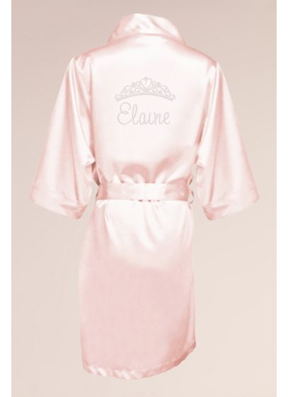 Personalized Satin Quinceanera Robe with Tiara - A sweet satin robe for Miss Quince. Make