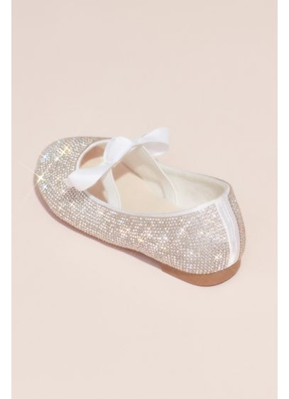 Girls Crystal Ballet Flats with Ribbon Bow - A cute pair for Little Miss Twinkle Toes,