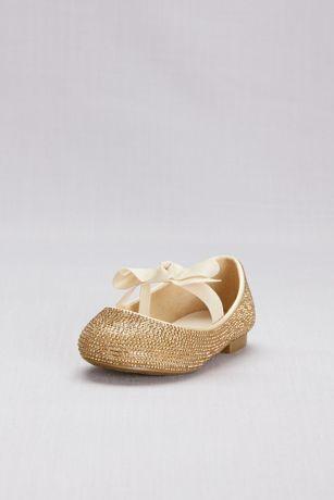 David's Bridal Yellow Flowergirl Shoes (Crystal Girls Ballet Flats with Ribbon Bow)