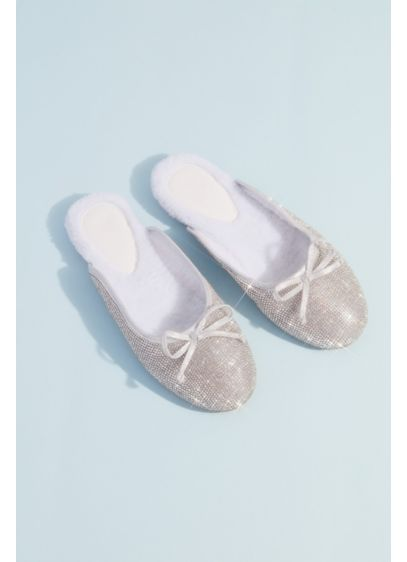 Crystal-Encrusted Open-Back Ballet Flat Slides - A little twinkle for your toes! These crystal-encrusted