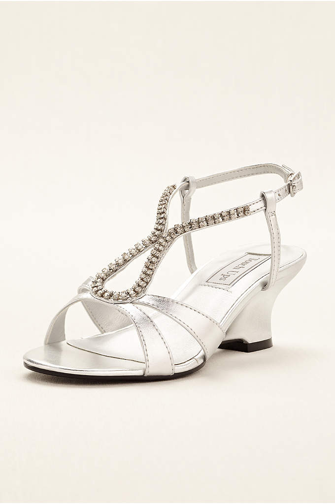 Regina Wedge Sandal by Touch Ups - These silver metallic wedge sandals are simplistically chic,