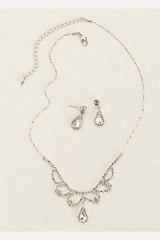 Set de Aretes y Collar de Cristales En forma de Gota