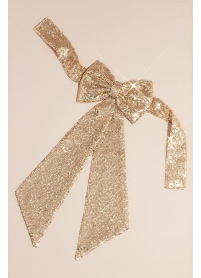Allover Sequin Flower Girl Sash with Back Bow - Wedding Accessories