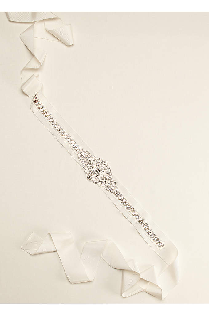 Grosgrain Sash with Linear Beaded Design - Add a classic vintage touch to your bridal
