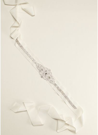 Grosgrain Sash with Linear Beaded Design - Wedding Accessories