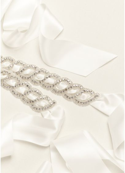 Embellished Feed-Through Satin Sash - Wedding Accessories