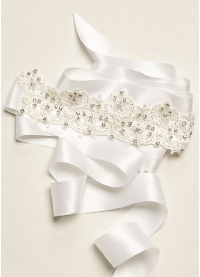 David's Bridal White (Lace Sash with Embroidered Details)