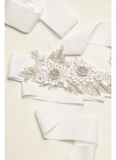 White (Embellished 3D Floral Applique Sash)