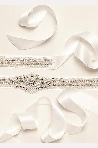 Cinta de Satín Adornado con Perlas y Cristales
