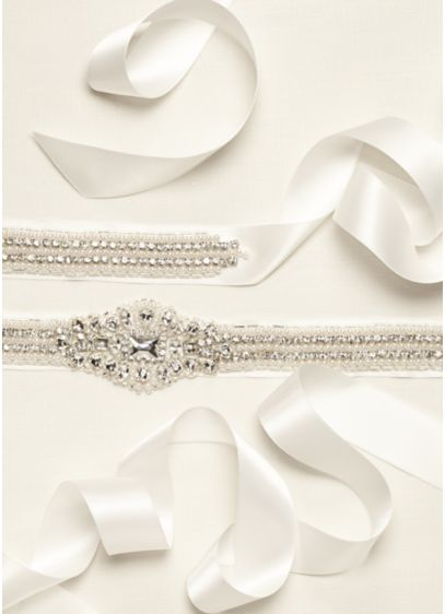 Satin Sash with Pearl and Crystal Embellishments - Wedding Accessories