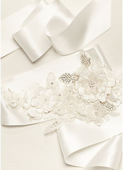 David's Bridal Ivory (Satin 3D Floral Ribbon Sash)