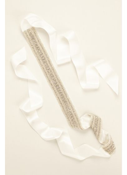 Heavily Encrusted Satin Sash - Wedding Accessories