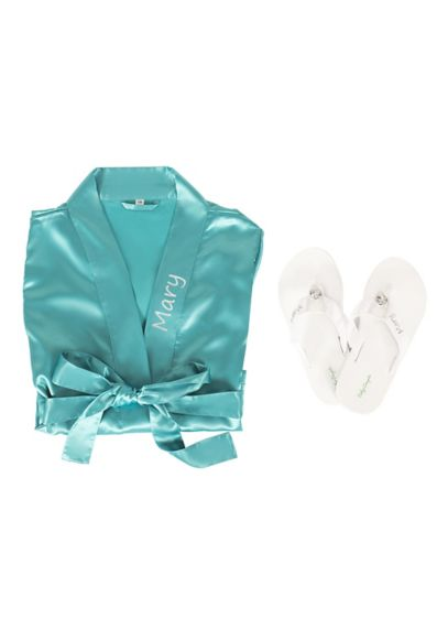 Personalized Satin Robe and Flip Flop Gift Set - Wedding Gifts & Decorations