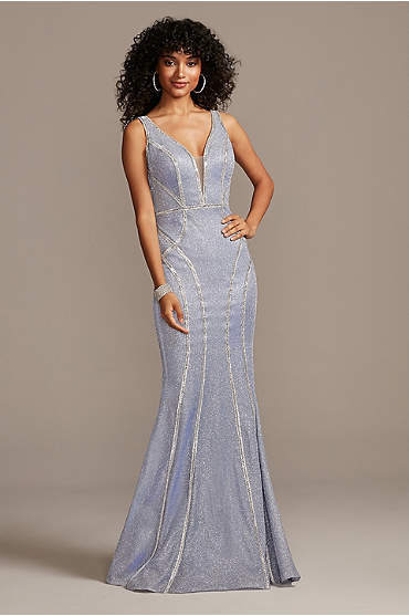 Glitter Deep-V Gown with Crystal Embellished Seams