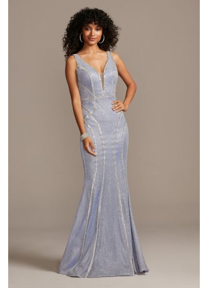 Glitter Deep-V Gown with Crystal Embellished Seams - Bring the drama and wow power in this