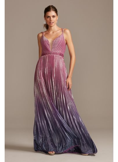 Metallic Pleated Ombre Gown with Plunge Illusion - This glamorous gown is all about the dramatic