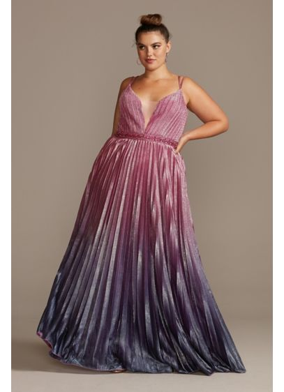 Pleated Ombre Plus Size Gown with Plunge Illusion - This glamorous plus-size gown is all about the