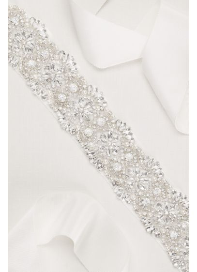 David's Bridal White (Scalloped Crystal Sash)
