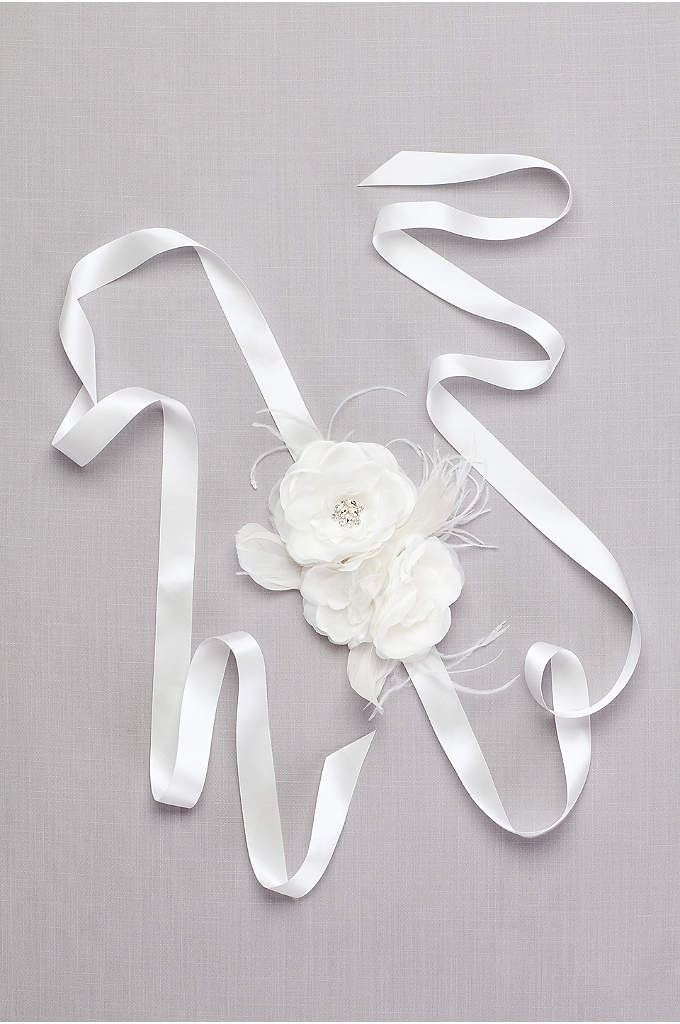 Flower Sash with Crystals and Feathers - A trio of handmade fabric flowers, with crystal