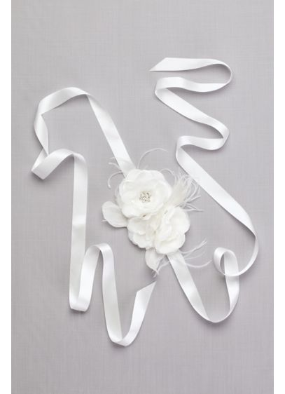 Flower Sash with Crystals and Feathers - Wedding Accessories