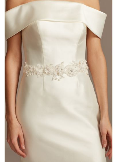 David's Bridal Ivory (Beaded Lace Floral Sash)