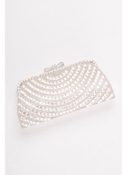 David's Bridal Grey (Allover Crystal Bow-Top Clutch)