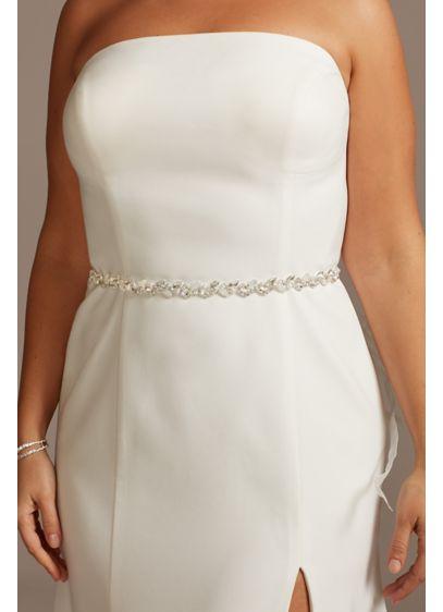 David's Bridal Grey (Marquise Cut Crystal and Pearl Leaflet Sash)