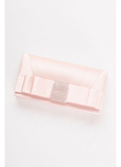 Satin Clutch with Rhinestone Bow - Wedding Accessories