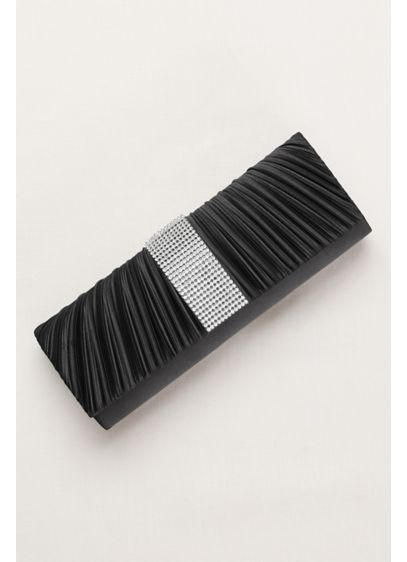 David's Bridal Black (Pleated Clutch with Crystal Center)